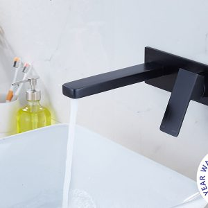 QUAZ square bath basin wall mixer with spout matt black