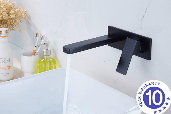 QUAZ square bath basin wall mixer with spout matt black