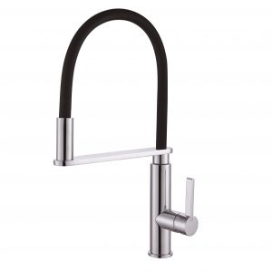 Rit pull out down goose neck black and chrome kitchen mixer tap
