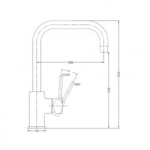Brushed nickel slim square line round kitchen laundry sink mixer