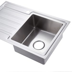 304 stainless steel hand made drop in kitchen sink with drainer right hand bowl