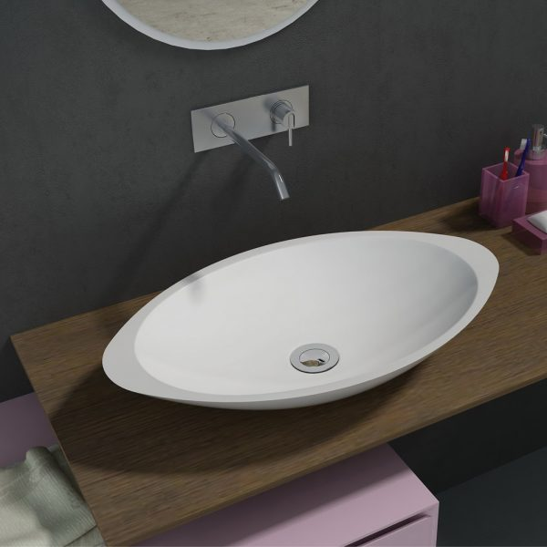 500mm Above Counter Oval Solid Surface Stone Wash Basin Matt White