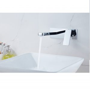 QUAZ square bath basin wall mixer with spout chrome