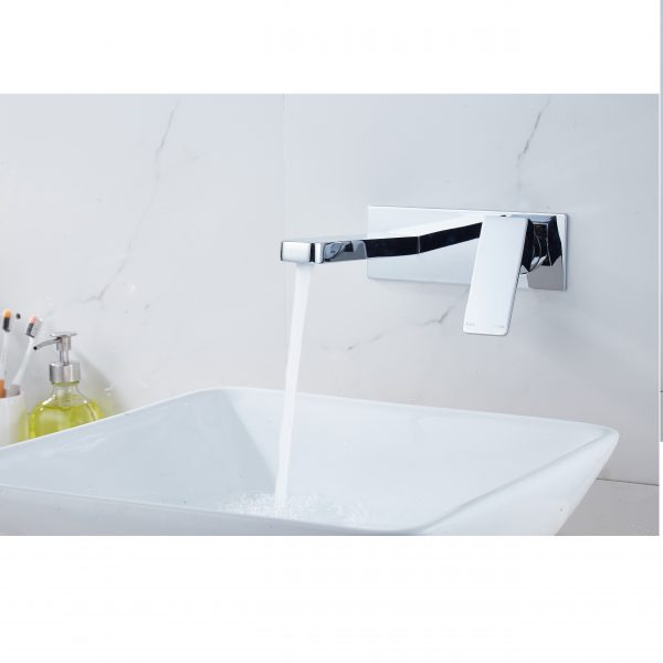 QUAZ square bath basin wall mixer with spout chrome