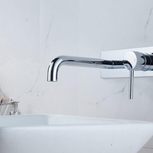 Pin Lever Round Chrome Bath/Basin Wall Mixer With Spout