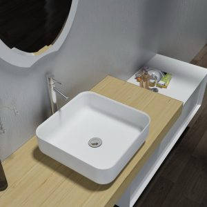 Above Counter Square Solid Surface Stone Vanity Wash Basin Matt White