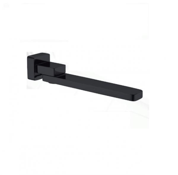 Square matt black bath/basin wall swivel water spout