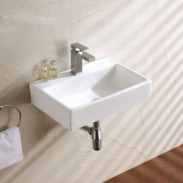 Powder Room Small Wall Hung Ceramic Wash Basin With Bracket