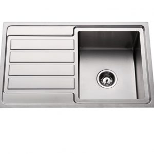304 stainless steel kitchen sink single bowl with drainer top mount sink