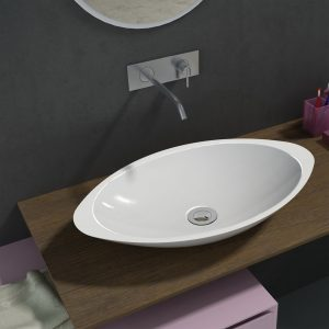 500mm Above Counter Oval Solid Surface Stone Wash Basin Glossy White
