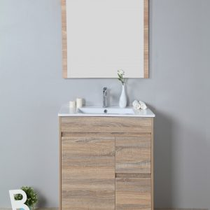 750mm oak floor standing vanity only