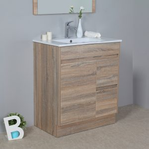 750mm oak floor standing vanity with ceramic top