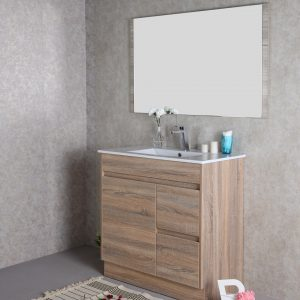 900mm oak floor standing vanity with ceramic top