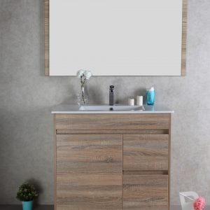 900mm oak floor standing vanity cabinet only