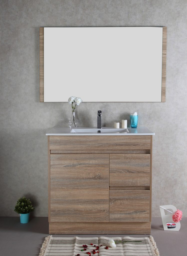 900mm Oak Floor Standing Vanity Cabinet Only Rio Bathroom