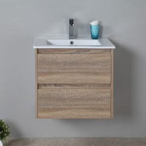 Rio 600mm wall hung vanity with ceramic top