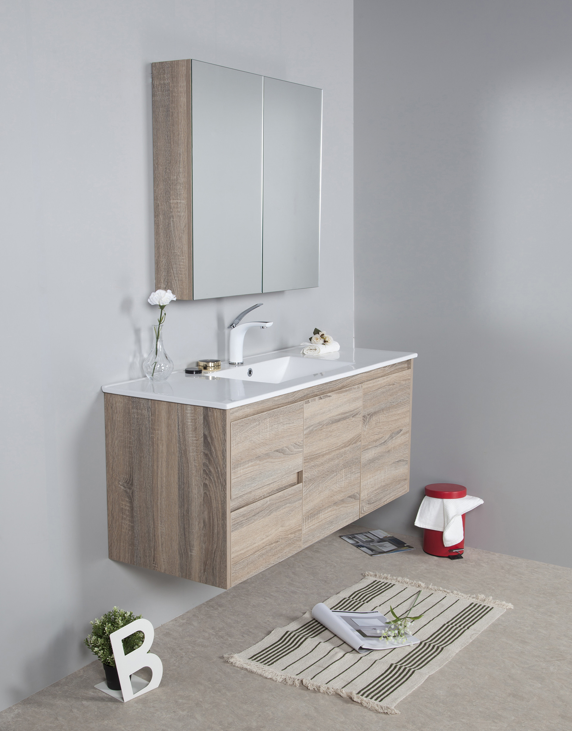 1200mm oak wall hung vanity cabinet only rio bathroom warehouse for Wall mounted bathroom vanity cabinet only