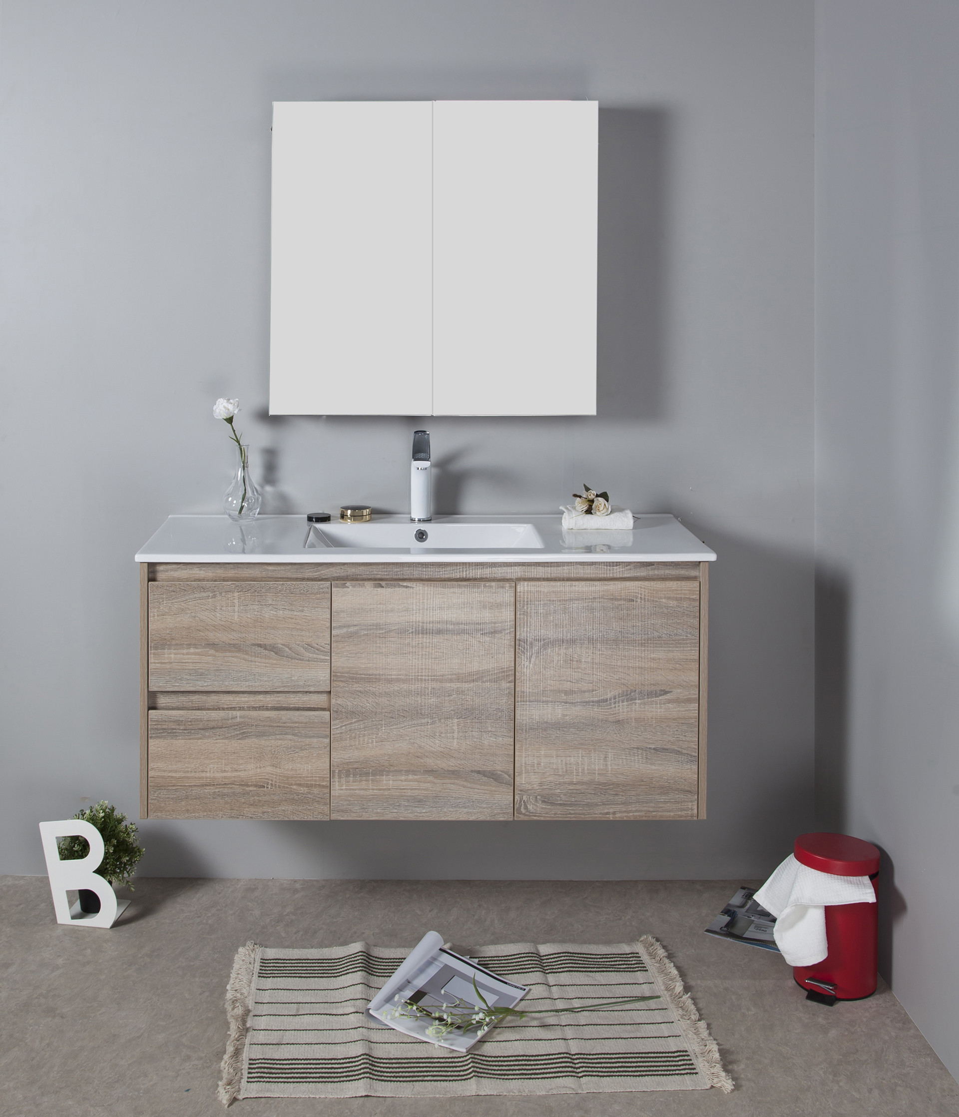 1200mm Oak Wall Hung Vanity Cabinet Only Rio Bathroom