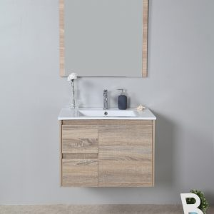 750mm oak wall hung vanity cabinet only