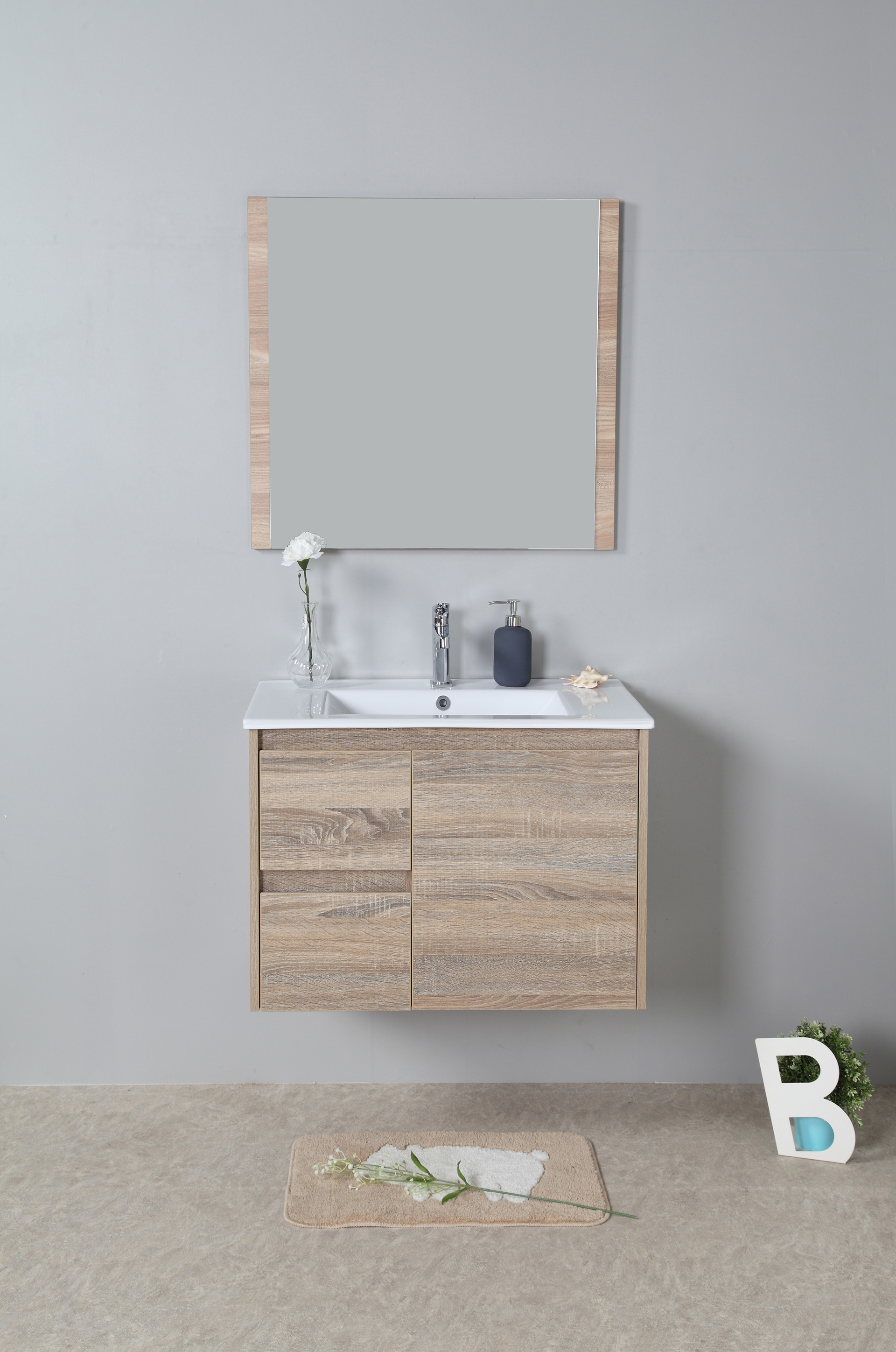 750mm oak wall hung vanity cabinet only rio bathroom warehouse for Wall mounted bathroom vanity cabinet only