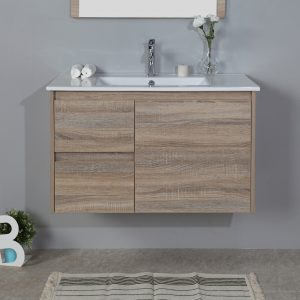 900mm oak wall hung vanity cabinet only