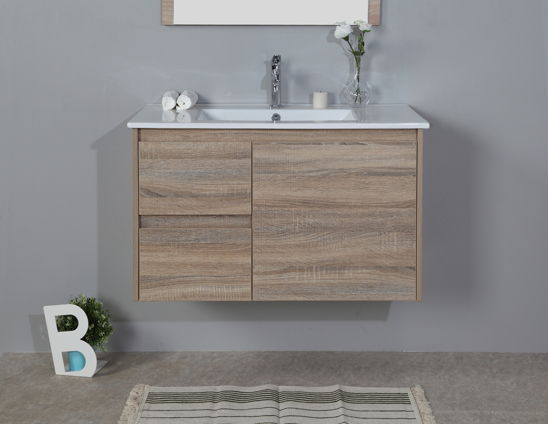 900mm oak wall hung vanity cabinet only for Wall mounted bathroom vanity cabinet only