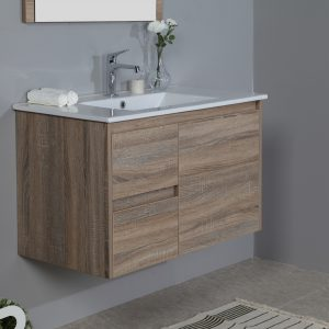 900mm oak wall hung vanity with ceramic top