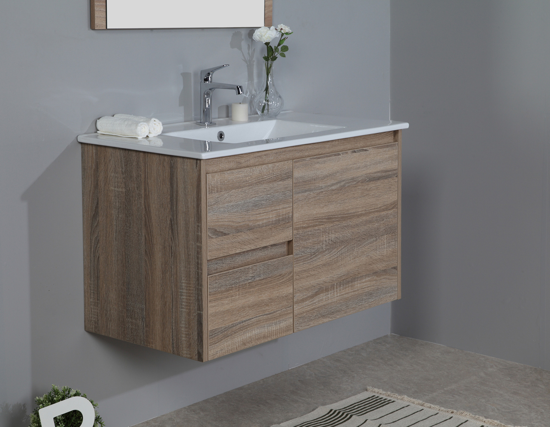 900mm oak wall hung vanity cabinet only rio bathroom warehouse