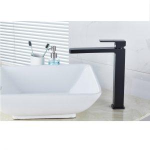 QUAZ square bathroom vanity tall basin mixer matt black