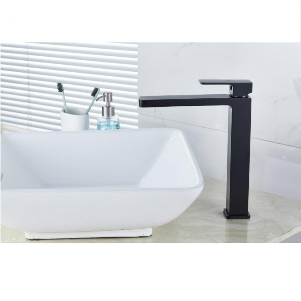 QUAZ square bathroom vanity tall basin mixer matt black