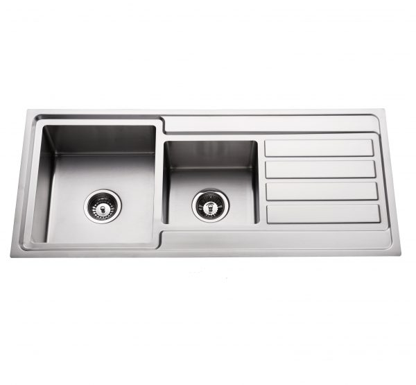 hand made 304 stainless steel quarter double bowl kitchen sink with right hand drainer