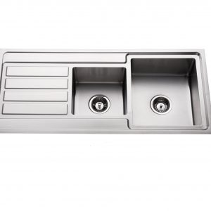 hand made 304 stainless steel quarter double bowl kitchen sink with left hand drainer