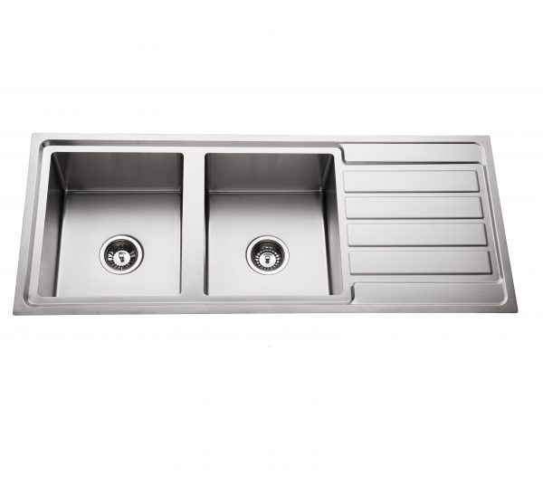 hand made 304 stainless steel double bowl kitchen sink with right hand drainer