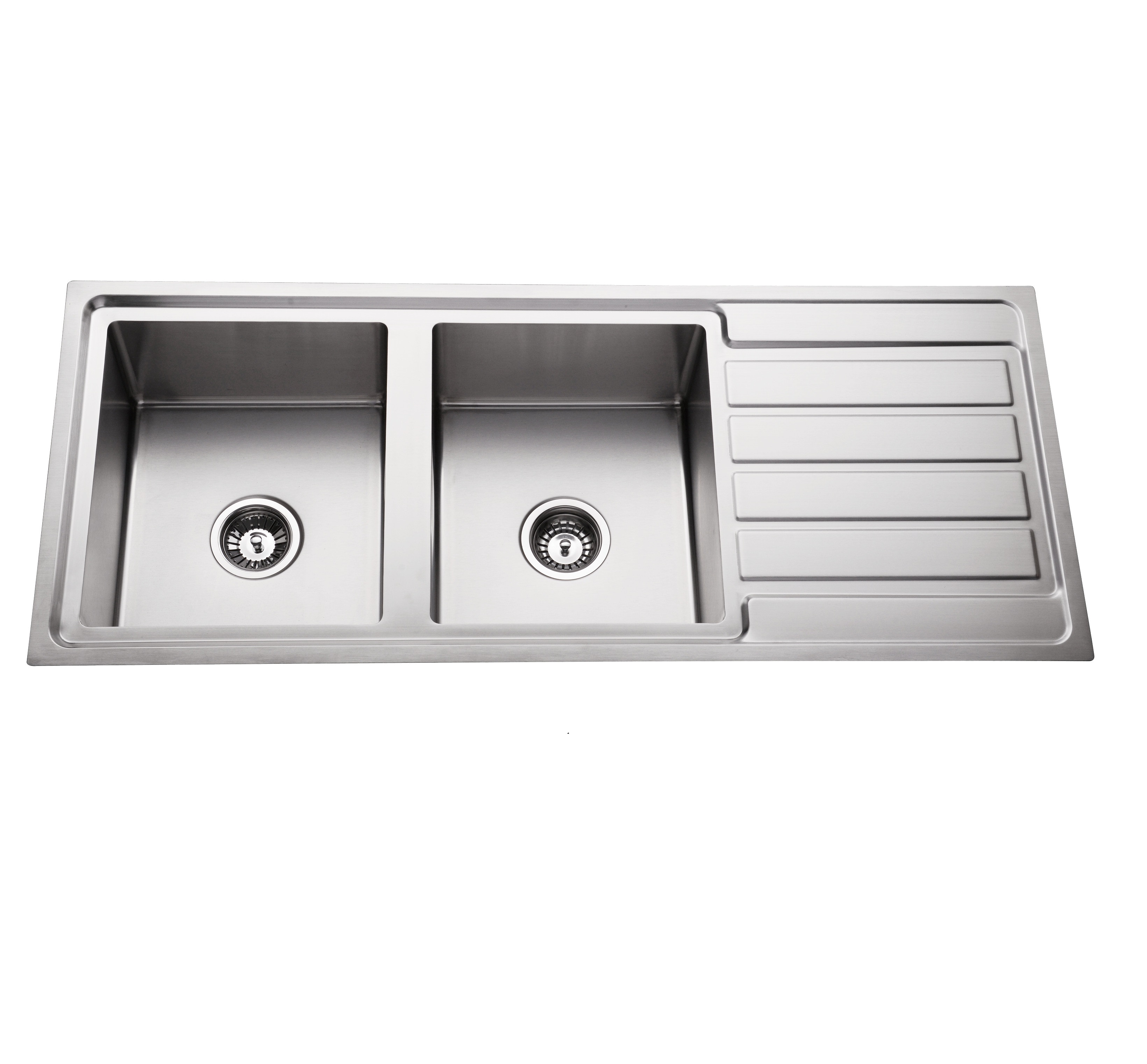 304 stainless steel double bowl top mount kitchen handmade sink