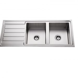 304 Stainless steel double bowl top mount kitchen sink right hand bowl
