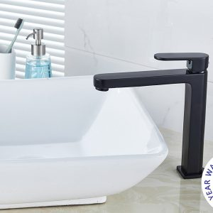 Black round tall vanity basin mixer