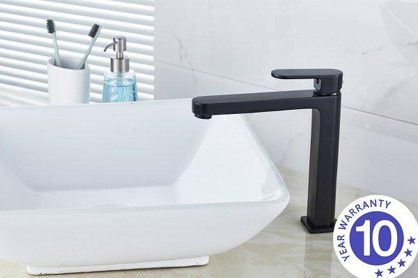 Black round tall vanity basin mixer