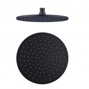 250mm round shower head matt black
