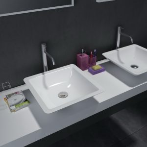 Above counter square solid surface stone wash basin glossy white