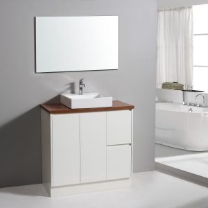 900mm Floor Standing Vanity With Solid Timber Top