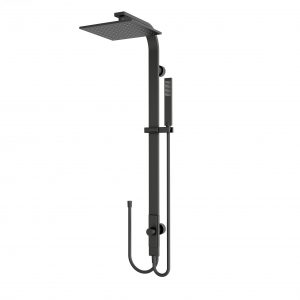 Luxury matt black square rain shower set combination double hose
