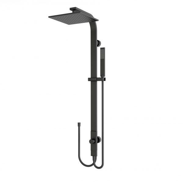 Luxury matt black square rain shower set combination double hose
