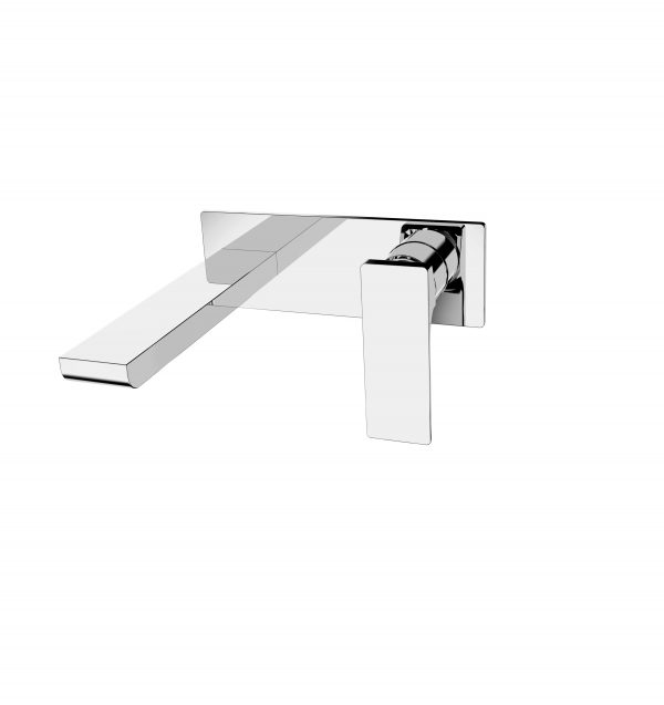 Astro square wall basin bath mixer with outlet chrome