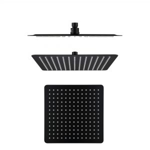 300mm 304 stainless steel black square ultra slim shower head