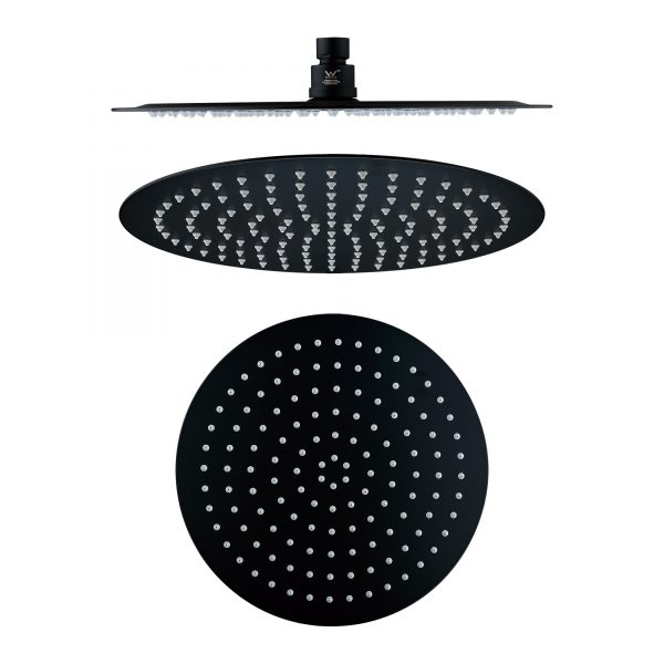 300mm 304 stainless steel black round ultra slim shower head