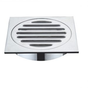 Chrome finish square floor drain waste