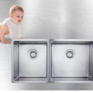 304 stainless steel 3/4 double bowl undermount/drop in kitchen sink