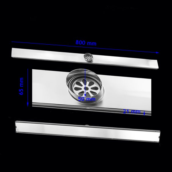 800mm 304 stainless steel shower grate with tile insert