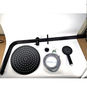 Dual round black shower rail with rain shower head