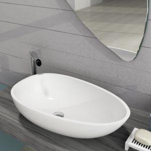 Egg shape solid surface stone basin matt white